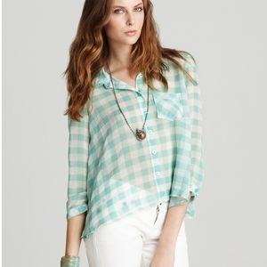 Free People Sheer Gingham Mint & White Blouse S